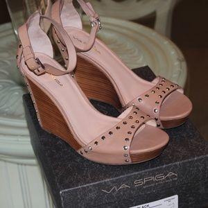 Via Spiga Studded Wedge Sandal Size 11